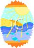Sun Shining on Fish in the Ocean clipart