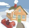 Cabin and Sled in the Snow clipart