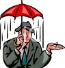 Businessman Getting Soaked in the Rain clipart