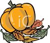 Pumpkin with Fall Leaves clipart