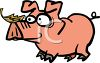 Cartoon Pig with a Leaf on His Snout clipart