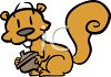Cartoon Squirrel Holding an Acorn clipart