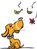 Cartoon Dog Looking at Falling Leaves clipart