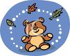 Teddy Bear Looking at Fall Leaves clipart