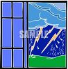 Lightening Storm Seen Through a Window clipart