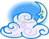 Night Sky with a Cloud and Crescent Moon clipart