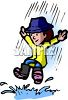 Kid Playing in a Rain Puddle clipart