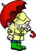 Man Holding an Umbrella Wearing Rain Gear clipart