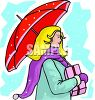 Woman Shopping in the Snow clipart