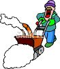 Man Using a Snow Blower clipart
