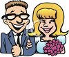 Cartoon Clip Art of a Young Man and Woman Going to Get Married clipart