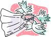 Doves Carrying a Bridal Veil clipart