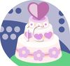 Wedding Cake Topped with a Heart clipart