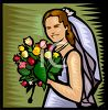 Smiling Bride Holding Her Bouquet clipart