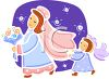 Whimiscal Bride with a Little Girl Carrying Her Train clipart