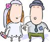Cartoon of a Couple Getting Married clipart