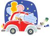 Newlyweds Driving Away in the Wedding Car clipart