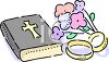 Bible, Wedding Bands and a Bouquet clipart