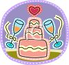 Pink Wedding Cake and Champagne Glasses clipart