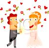 Cartoon Bride and Groom Surrounded by Hearts and Roses clipart