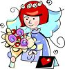 Cartoon Bride Holding Her Bouquet clipart