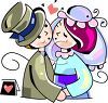 Cartoon of a Bride and Groom Kissing  clipart