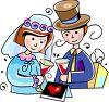 Bride and Groom Toasting with Champagne clipart
