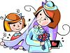Little Girl Helping a Bride with Her Veil clipart