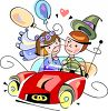 Bride and Groom in the Wedding Car clipart