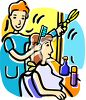Cartoon of a Woman Getting Her Hair Done clipart