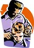 Barber Giving a Boy a Haircut clipart