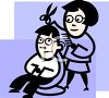 Mother Cutting Her Son's Hair clipart