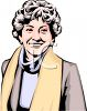 Realistic Style Middle Aged Woman with Curly Gray Hair  clipart