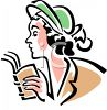 Vintage Woman Reading a Book clipart