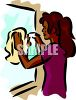 African American Woman Washing a Window clipart