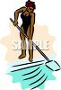 African American Woman Cleaning a Pool clipart