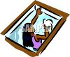 Woman Washing a Skylight Window clipart