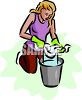 Woman Squeezing Out a Rag Into a Bucket clipart