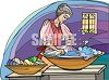 Woman Washing Laundry by Hand clipart