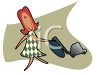 Cartoon Woman Vacuuming clipart