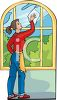 Woman Cleaning a Large Window clipart