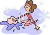 Cartoon Woman Washing the Floor  clipart