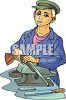 Man Cleaning His Rifle clipart