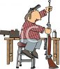 Cartoon of a Redneck Hunter Cleaning His Rifle clipart