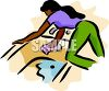 Black Woman Scrubbing a Bathtub clipart
