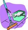 Sponge Mop and Plastic Bucket Filled with Sudsy Water clipart