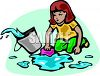 Little Girl Washing the Floor clipart