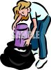 Woman Emptying the Trash clipart
