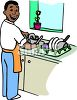 Black Man Washing Dishes clipart