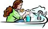 Young Woman Cleaning Her Bathtub clipart